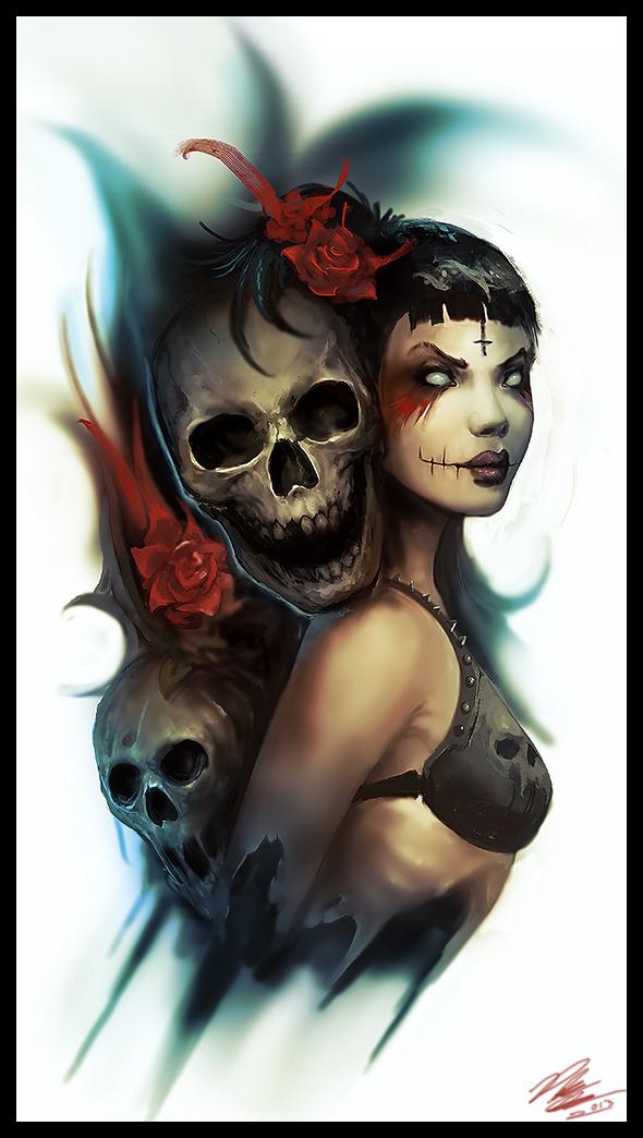 Skulls Roses by Peter-Ortiz
