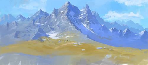 mountain scene wip
