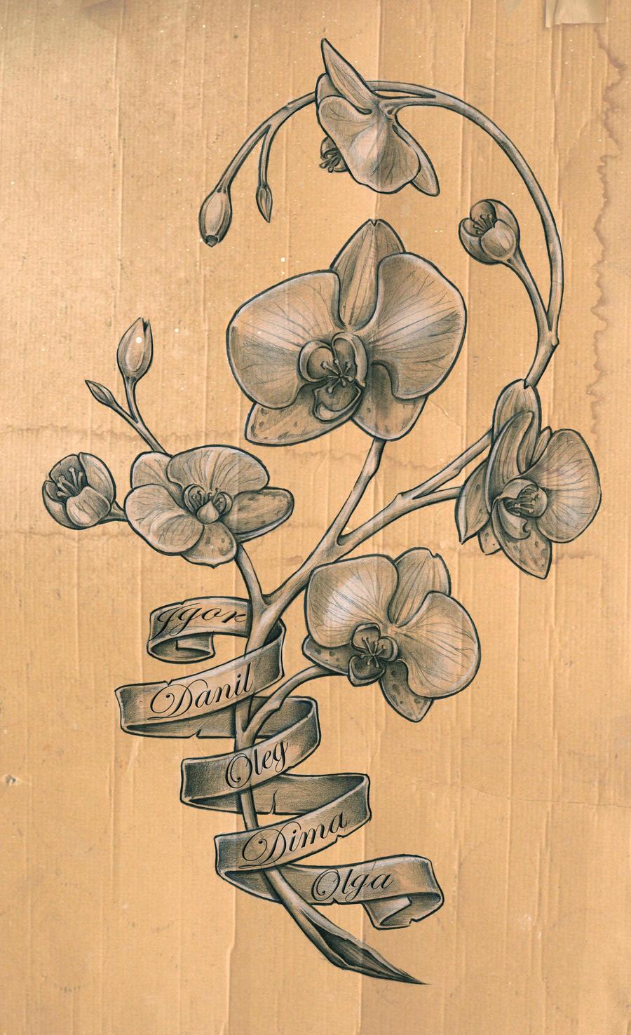 orchid tattoo sketch by DLXONE