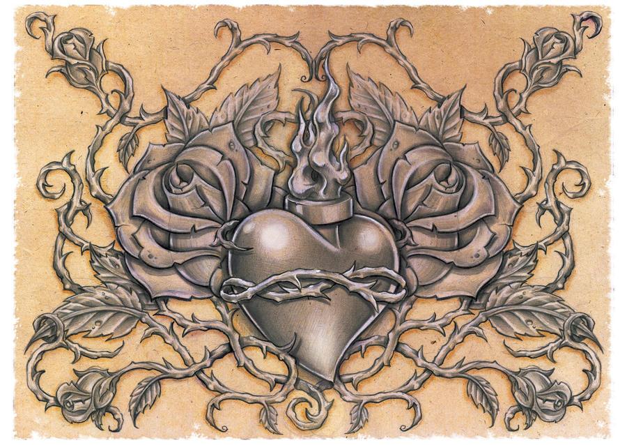 sacred heart by dlxone on deviantart. Black Bedroom Furniture Sets. Home Design Ideas