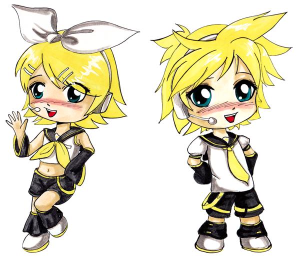 Kagamine Rin and Len by Ranefea