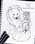 Inktober Elves Day 16 - Wolf