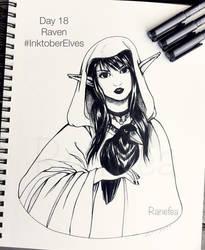 Inktober Elves Day 18 - Raven by Ranefea