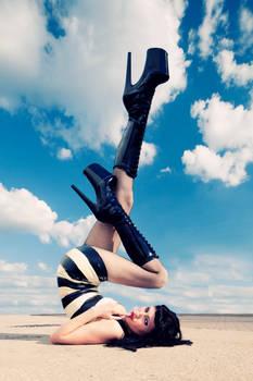 walking on the blue sky