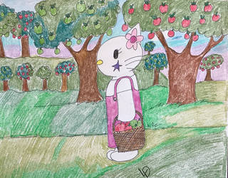 Hello Kitty picking apples by Lycandemon666