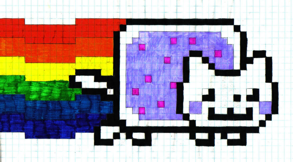 Nyan Cat on Graph Paper by DuBsTePLIFE on DeviantArt