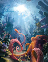 Octopus and Reef by ConejoBlanco
