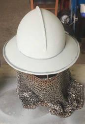 Working on my  re-enactment helmet by SeraphWolf1995