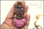 Sea sediment jasper and copper pendant