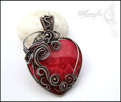 Rhodochrosite heart pendant by amorfia