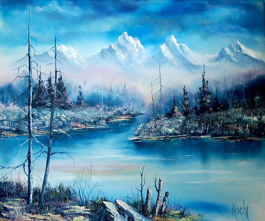 Mountians in Blue by mrartteacher