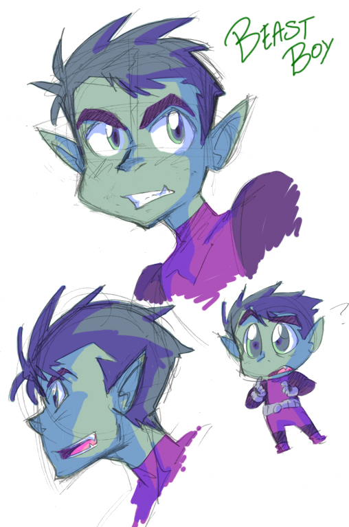 Beast Boy Sketchies by JigokuHana