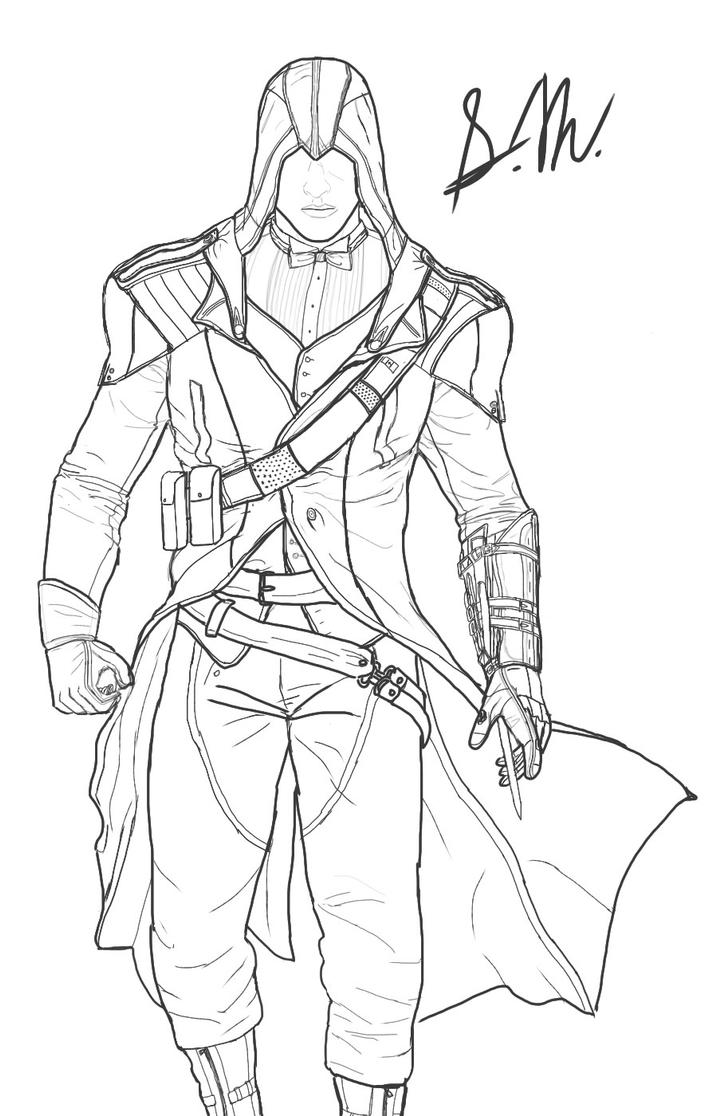 Line Drawing Unity : Assassin s creed unity modern arno rough sketch by