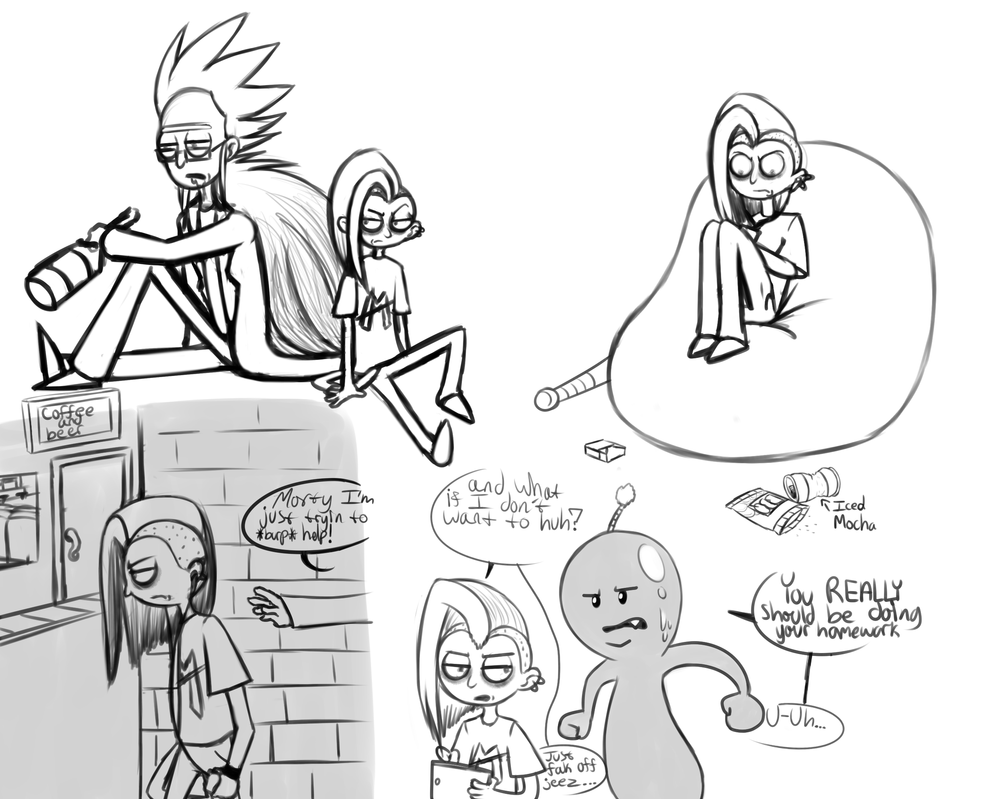 My headcanon version of Rick and Morty sketchdump2 by ReneesInnerIrken