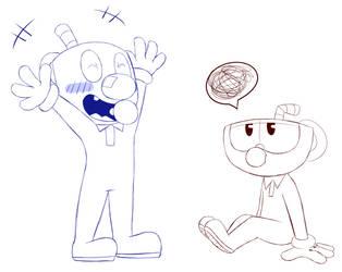 Baby Cuphead and Mugman doodle by RadioDemonDust