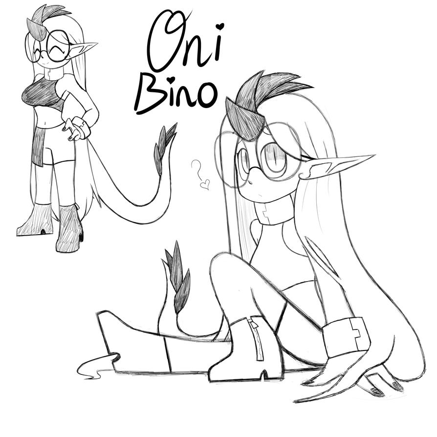 Oni Bino sketch ref by Glitched-Irken