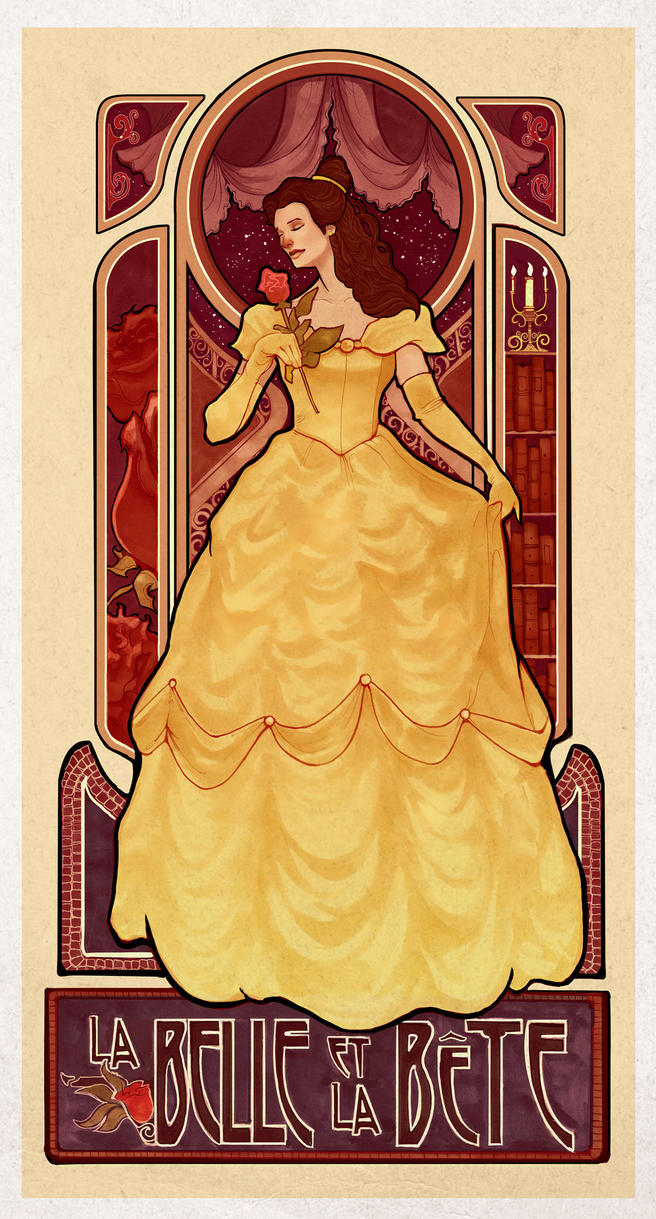 Art Nouveau Inspired Beauty And The Beast Poster By Browniedjhs