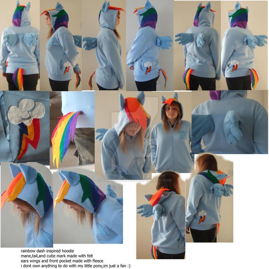 rainbow dash hoodie by sasukeharber
