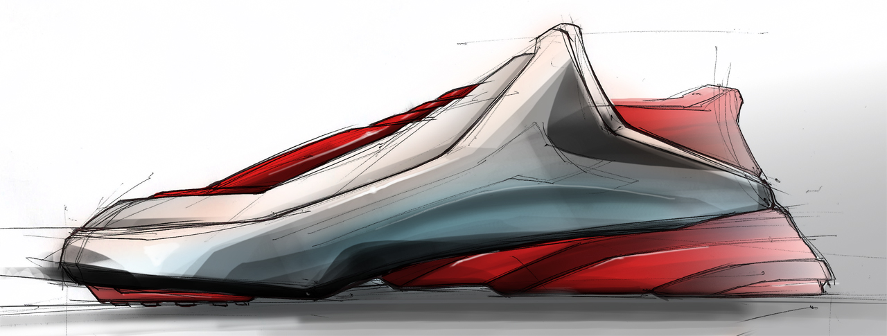 random shoe design sketch photoshop rendering by ecco666