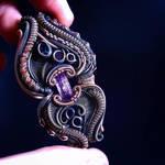 Purple Imperial Topaz Pendant, Heady wire wrap