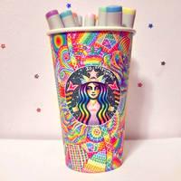 Rainbow Starbucks Cup Art