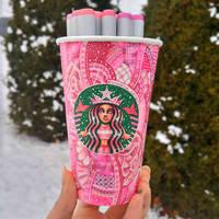Pink Starbucks Cup Art