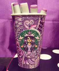 Purple Starbucks Cup Art