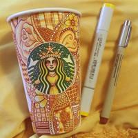 Yellow Starbucks Cup Art