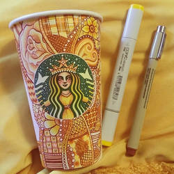 Yellow Starbucks Cup Art by CreativeCarrah