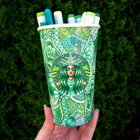 Green Starbucks Cup Art