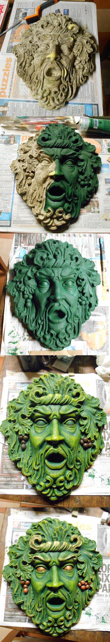 Green Man - painting process by Bluetabbycat