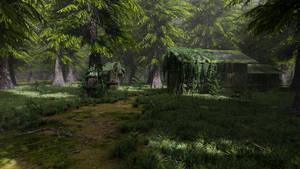 Abandoned Shack in Forest Scene 3D model