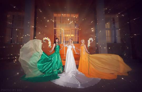 Princess Serenity, Jupiter and Venus cosplay group