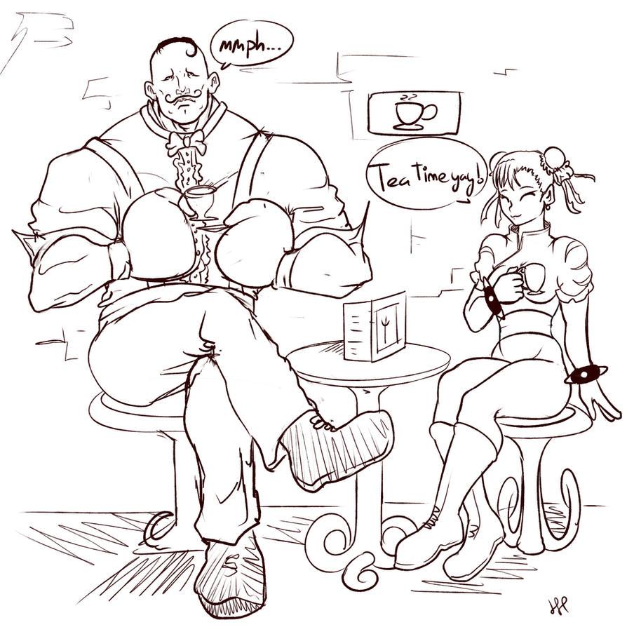 Wholesome Chun Li and Dudley tea time by HUNKHANKS
