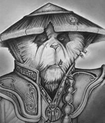 Monk Panda, pencil drawing.