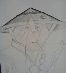 Monk Panda, pencil drawing. Part 2