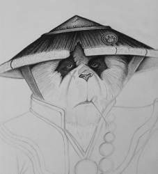 Monk Panda, pencil drawing. Part 3