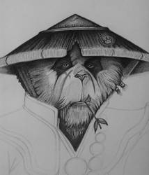 Monk Panda, pencil drawing. Part 4
