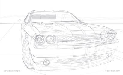 Dodge Challenger Vector - Wireframe