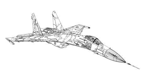 Vector Sukhoi Su-35 Fighter. Wireframe.
