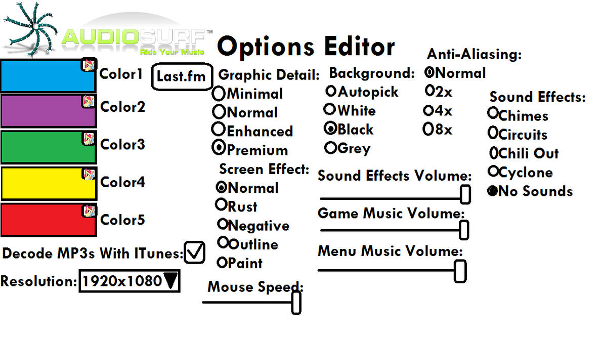 Audiosurf Options Editor by davidsanjuan700 on DeviantArt