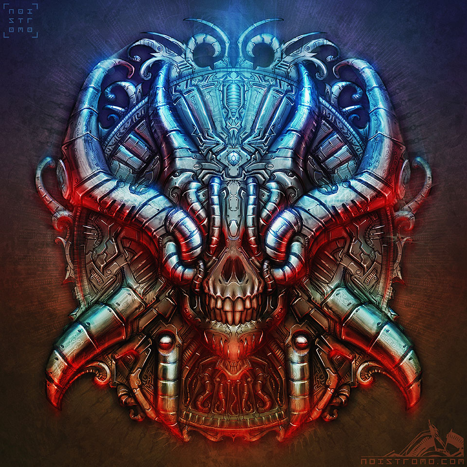 Biomechanical Chrome Skull by noistromo