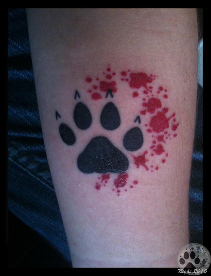 blood paw tattoo by nighttwilightwolf on deviantart. Black Bedroom Furniture Sets. Home Design Ideas