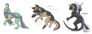 Two Raptors and a Dog - commission by NightTwilightWolf