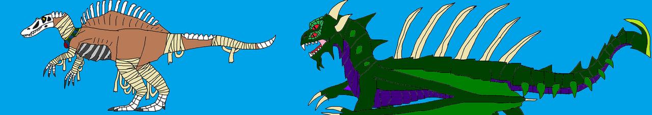 Razorthorn and Spinobek-Ra by PeteDRaptor