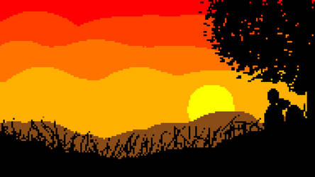 Lovers and Sunset Pixel Artwork by baycosinus