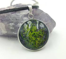 Green Moss Terrarium Bezel Pendant by ValkyrieVale