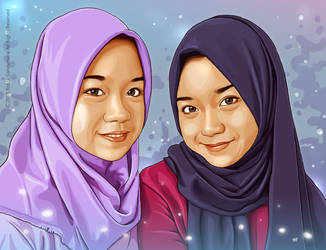 The Great of Two Young Hijaber by IborArt