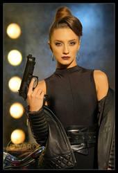 Model Danni with Gun