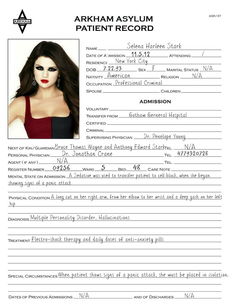 selena stark 39 s arkham patient admission form by paranoia neon angel on deviantart. Black Bedroom Furniture Sets. Home Design Ideas